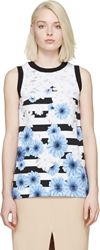 Mother Of Pearl White Daisy Stripe Holton Tank Top