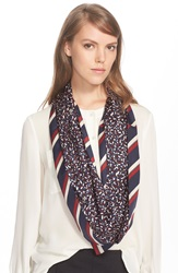 Tory Burch Stripe And Confetti Print Silk Infinity Scarf Red Agate