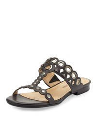 Neiman Marcus Emmery Studded Leather T Strap Sandal Black