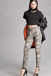 Forever 21 Ripped Camo Print Pants Olive