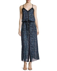 L.A.M.B. Silk Floral Print V Neck Dress Blue Floral