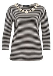 Hallhuber Stripe Top With Floral Embellishments Grey