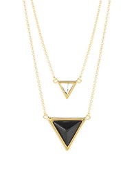 House Of Harlow Beaded Triangle Pendant Necklace Black Gold