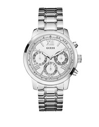 Guess Ladies Classic Sport Silvertone Chronograph Watch