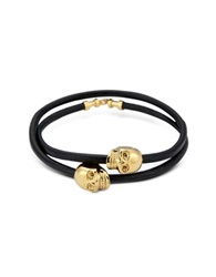 Northskull Black Leather And 18 Kt. Gold Skull Double Wrap Bracelet