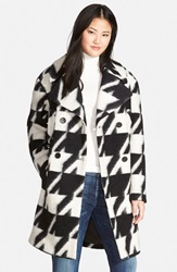7 For All Mankind Long Houndstooth Coat Black White Abstract