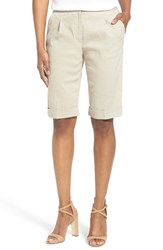 Women's Elie Tahari 'City' Cuff Linen Blend Walking Shorts