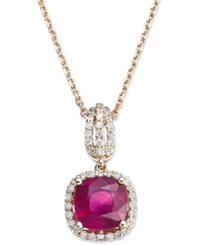 Macy's 14K Rose Gold Necklace Ruby 1 9 10 Ct. T.W. And Diamond 1 4 Ct. T.W. Cushion Cut Pendant