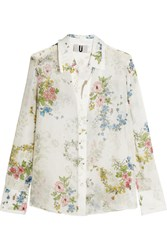 Topshop Unique Hambledon Floral Print Silk Georgette Shirt Off White