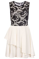 Quiz Cream Lace Layer Skater Dress