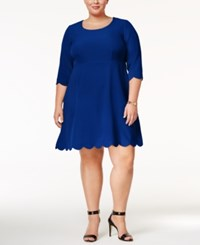 Ny Collection Plus Size Scalloped Fit And Flare Dress Bright Blue