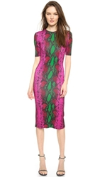 House Of Holland Snake Print Midi Dress Pink Snake