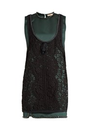 N 21 Layered Satin And Lace Dress Dark Green