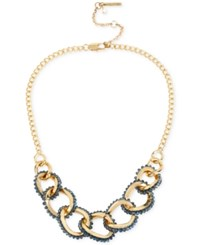 Kenneth Cole New York Woven Faceted Bead Link Frontal Necklace Gold