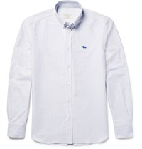 Maison Kitsune Slim Fit Button Down Collar Striped Cotton Oxford Shirt White