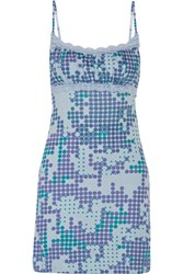 Cosabella Dottie Printed Pima Cotton And Modal Blend Chemise Light Blue