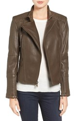 Vince Camuto Women's Asymmetrical Leather Moto Jacket Olive