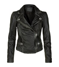 Allsaints All Saints Cargo Leather Biker Jacket Female Black