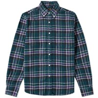 Beams Plus Button Down Shaggy Block Check Shirt Green
