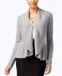 Cable And Gauge Ruffled Shawl Collar Cardigan Heather Grey