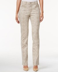 Charter Club Snakeskin Print Straight Leg Pants Only At Macy's Almond Latte
