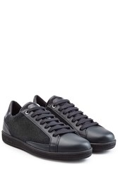 Brioni Leather Sneakers With Wool Black