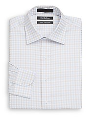 Saks Fifth Avenue Slim Fit Checkered Dress Shirt Blue Taupe