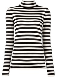 Twin Set Mock Neck Striped Jumper Black