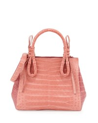 Nancy Gonzalez Crocodile Medium Knotted Top Handle Bag Rose Pink White