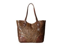 American West Annie's Secret Collection Large Zip Top Tote Distressed Charcoal Brown Chestnut Brown Tote Handbags