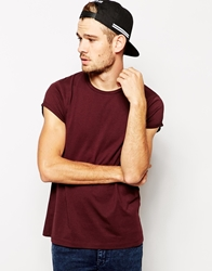 Asos T Shirt With Crew Neck And Rolled Sleeve Oxblood