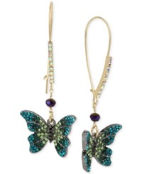 Betsey Johnson Two Tone Pave Butterfly Drop Earrings Gold