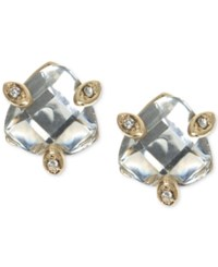 Lonna And Lilly Gold Tone Faceted Stone Stud Earrings Clear