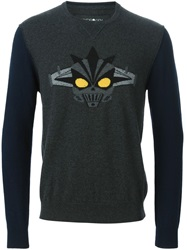 Hydrogen Embroidered Knit Sweater Grey