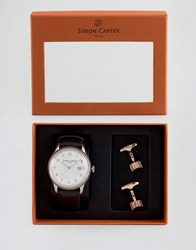 Simon Carter Leather Watch And Cog Cufflinks Gift Set Black