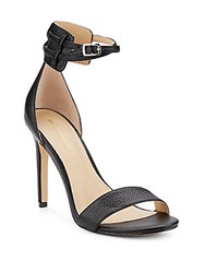 Saks Fifth Avenue Charlotte Leather Ankle Strap Sandals Black