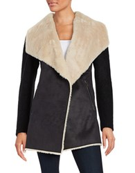 Calvin Klein Faux Fur Accented Mixed Media Jacket Black