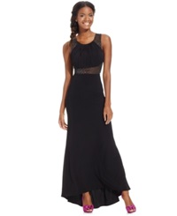 Morgan And Company Juniors' Beaded Illusion Pleated High Low Gown Black