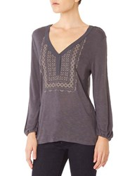 Sanctuary Long Sleeve Embroidered Boho Top Grey Mica