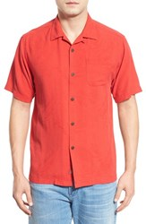 Men's Big And Tall Tommy Bahama 'Rio Fronds' Short Sleeve Silk Sport Shirt Red Cherry