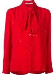 Yves Saint Laurent Vintage Pussy Bow Blouse Red