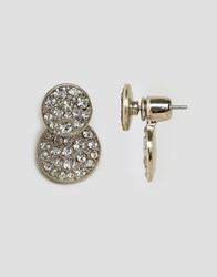 Oasis Pave Disc Front To Back Earrings Silver Crystal