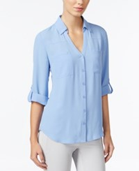 Amy Byer Bcx Juniors' Roll Tab Blouse Peri