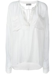 Faith Connexion Oversized Split Neck Blouse White