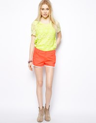 Colorblock Color Block Denim Shorts With Racer Finish Orange