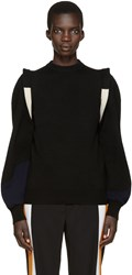 Toga Black Wool Panelled Sweater