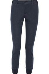 Vince Heathered Cotton Blend Jersey Tapered Pants Blue