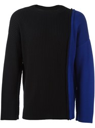Liam Hodges Two Tone Knit Jumper Black