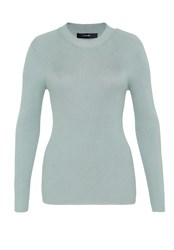 Hallhuber Rib Knit Jumper With Lurex Green