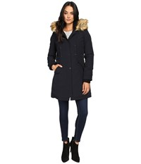 Vince Camuto Faux Fur Trim And Lined Hooded Down Removable Trim L1721 Navy Women's Coat
